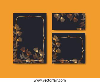 set invitations cards with floral decoration