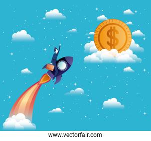 busiensswoman flying in rocket start up with money