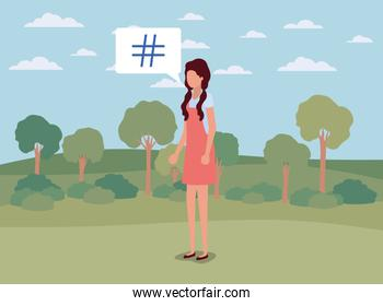 young woman with pound key in speech bubble on the camp