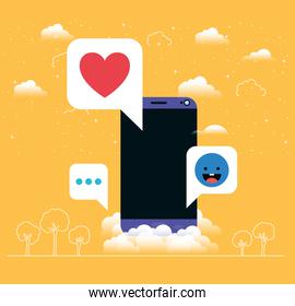 smartphone with social media messages