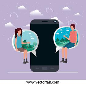 smartphone with couple seated in speech bubble