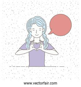 beautiful little girl talking with speech bubble