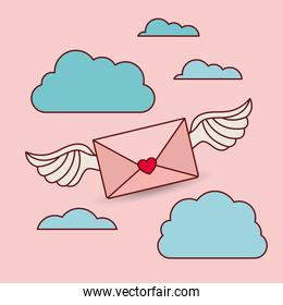 happy valentines day card with envelope