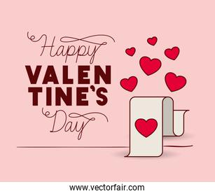 happy valentines day card with hearts love receipt