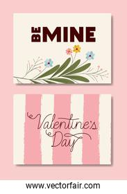 happy valentines day set cards with floral decoration