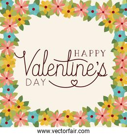 happy valentines day card with floral frame