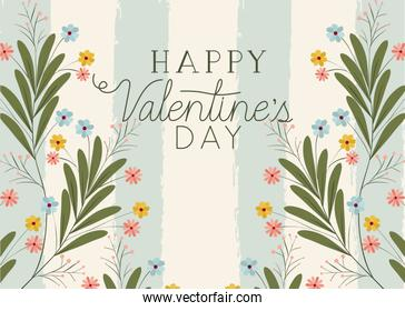 happy valentines day card with square and flowers frame
