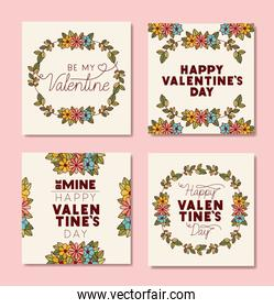 happy valentines day posters with floral frame