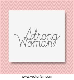 card with strong female message hand made font