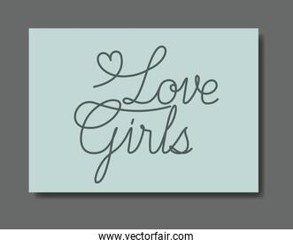 card with love female message hand made font