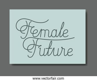 card with female future message hand made font