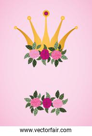flowers roses with queen crown decoration