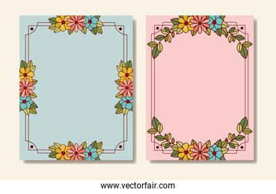 set of postcards with floral decoration