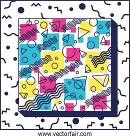 geometric figures colors ninetys patterns square frame