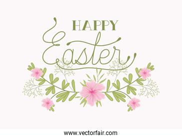 happy easter card with handmade font and flowers