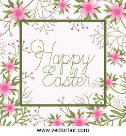 happy easter frame with handmade font and flowers