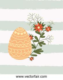 happy easter card with egg painted and flowers