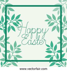 happy easter frame with handmade font and leafs