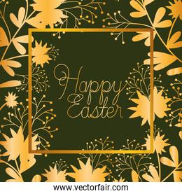 happy easter golden frame with hand made font and leafs