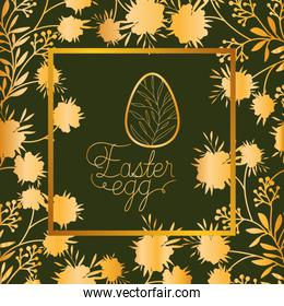 happy easter golden frame with egg painted and leafs