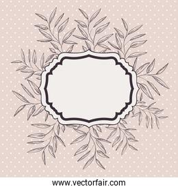 victorian frame with branch and leaf drawn