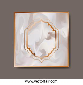 square golden with victorian frame marble texture
