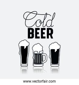 cold beers glasses icon