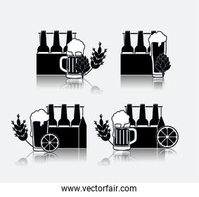 cold beers set icons