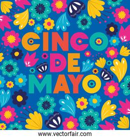 cinco de mayo card with floral pattern