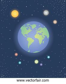 group of planets spacial icons