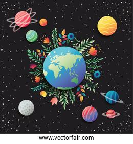 group of planets with floral decoration