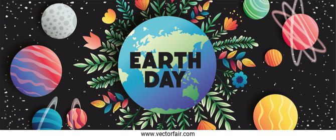 group of planets with floral decoration earth day celebration