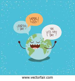earth character with speech bubbles