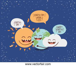 earth cloud and sun characters with speech bubbles