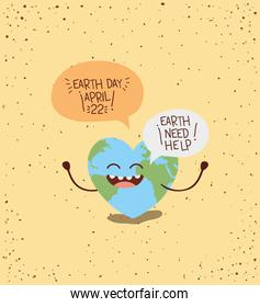 earth with heart shape character and speech bubble