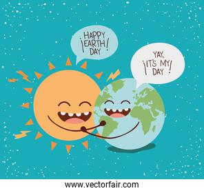 earth and sun characters with speech bubbles