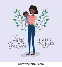 mothers day card with black mother and daughter leafs crown