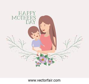 mothers day card with mother and son leafs crown