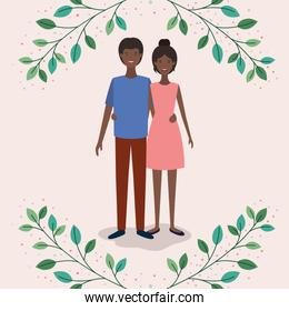 black lovers couple with leafs crown characters