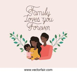 family day card with black parents and daughter leafs crown