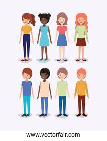 group of diversity kids characters