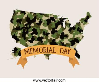usa map with camouflage and tape of memorial day emblem