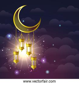 ramadan kareem golden lamps hanging in moon