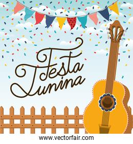 festa junina with fence and guitar