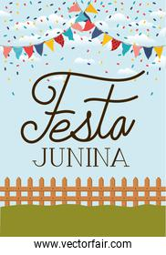 festa junina with fence and garlands