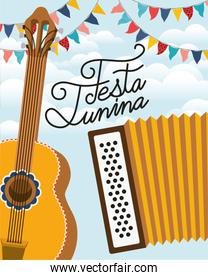 festa junina with guitar and accordion instruments