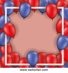square frame with balloons heliun reds and blues