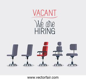 office chairs with we are hiring message