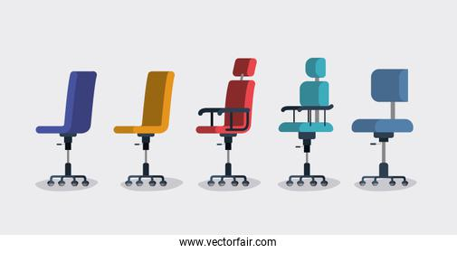 office chairs set styles vector illutration