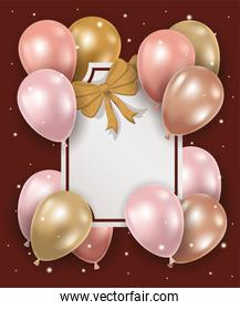 elegant frame with golden bow and balloons helium